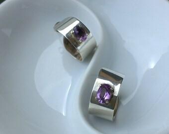 Amethyst sterling silver hoop earrings