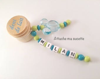 Box has tooth personalized name for turquoise wood beads boy Mickey