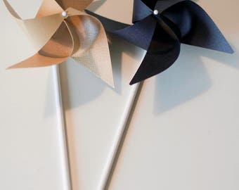 Graduation party, Black and Gold Party Favor Black and Gold Centerpieces, Gold Centerpieces, 12 mini pinwheel (custom orders welcomed)
