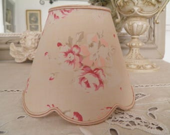 Lampshade for sconces and chandeliers, small old roses shabby style, cabbages and roses fabric