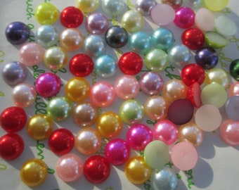 Pearlized round Cabochons 40pcs 10mm random mix
