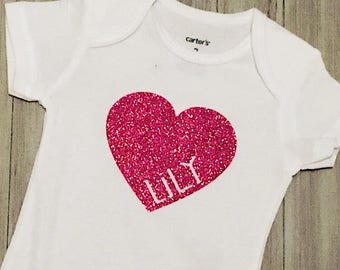 Personalized Heart Baby Bodysuit