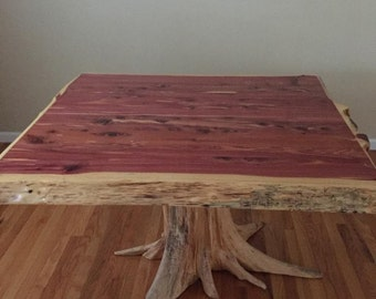 Stump Table, Cedar Dining Table, Live Edge Table, Breakfast Nook, Small Table