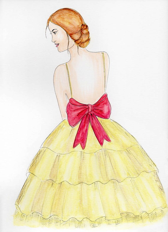 Girl in gold dress fashion illustration print Gold and pink
