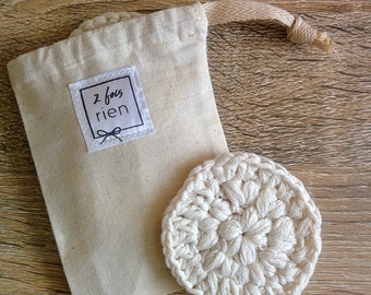 Cleansing cotton machine washable, reusable cotton, organic cotton, cotton crochet, free with purchase