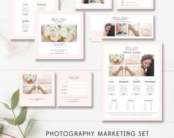 Photographer Marketing Set, Print Marketing Template Suite, Marketing Kit Photography Templates, Price Guide, Gift Card- INSTANT DOWNLOAD
