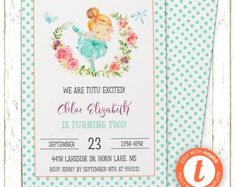 Ballerina Mint Invitation | Girls Ballet Birthday Party | Printable Editable Digital PDF File | Templett | KBI198DIY