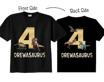 4th Birthday Shirts for Boys with Dinosaurs Tees on BLACK Shirts