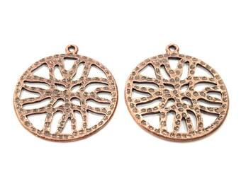 2 Copper Pendant Antique Copper Pendant Antique Copper Plated Metal (38mm) G11599