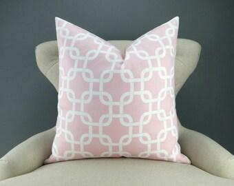 Pink Chain Pillow Cover -MANY SIZES- pink & white bold/geometric cushion, baby girl nursery decor, Gotcha Bella Premier Prints, FREESHIP