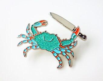 Stabby Crab Enamel Pin