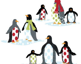 Patterned Penguins Wall Decals, Removable and Reusable Eco-friendly Wall Sticker