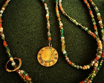 Multi-colored lariat necklace