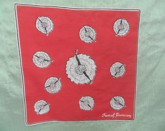 French Can Can red dancer handkerchief / vintage printed red cancan hankie