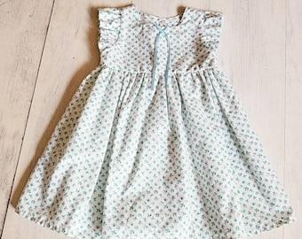 Toddler Easter Dress, 4T Easter Dress, Baby Blue Floral Dress, Vintage Floral Ruffle Sleeve Dress, Toddler Spring Dress