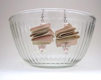 Victorian Styled Wedding Earrings Shimmering Pink and Gold bridesmaid earrings Fabric earrings, pearl earrings, stone earrings, mixed media