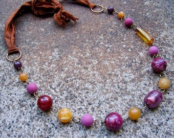 Eco-Friendly Silk Ribbon Statement Necklace - In Your Own Sweet Time - Ribbon from Recycled Saris, Vintage Beads in Purple, Brown & Caramel
