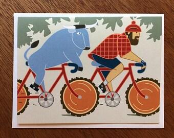 Paul Bunyan & Babe Bike Card