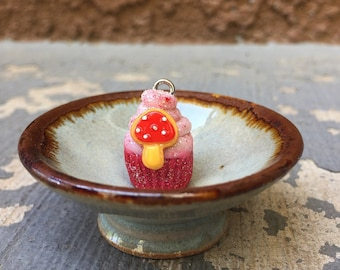Amanita Sparkle: Individual Mushroom Cookie Red Velvet Cupcake Stitch Marker for Knitters & Crocheters