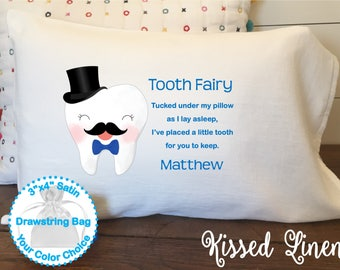 Personalized Tooth Fairy White Toddler Travel Pillowcase Soft 100% Cotton Flour Sack Fabric  Boy Mustache Bow Tie Tooth Fairy Pillow