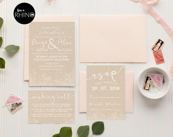 Printable Wedding Invitations | Modern Wedding Invitation | Printable Invitation | Simple Wedding | Paige Collection