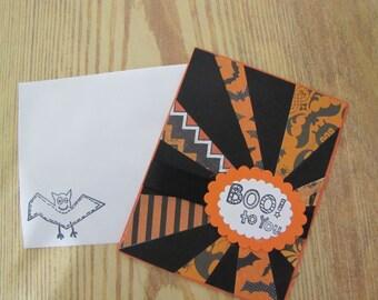 Boo to You! Halloween Greeting Card Handmade Halloween card.