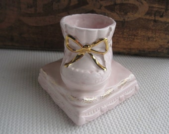 Vintage Pink Baby Shoe Planter with Gold Accents Napco Nursery Decor