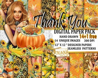 Thanksgiving Paper Pack Fall Paper Pack Fall Sunflower Paper Pack Autumn Paper Pack Autumn Digital Paper Fall Digital Paper Fall Background