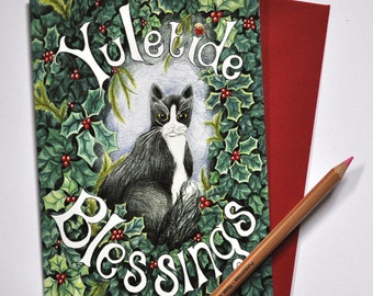 One Yule Cat blank Christmas card, Pagan cat Yule Blessings