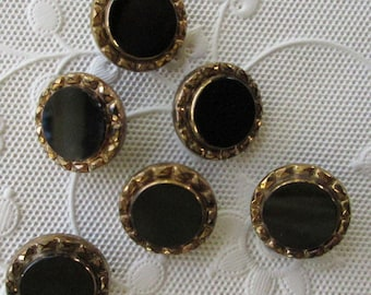 12 Vintage 1970s Czech Glass Buttons Handmade Glossy Black And Gold Glass Czechoslovakia  #108