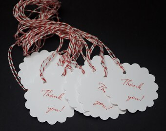 Thank you tags, hang tags, favor tags, party favors, gift tags, set of 50, red and white bakers twine,