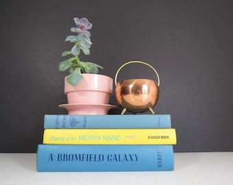Vintage Copper Planter Pot // Mid Century Modern Tiny Cauldron Pot Footed Metallic Flower Pot Succulent Garden Container Candle Holder