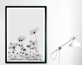 Floral Print, Wall Art, Wild Flower Print, Botanical Print, Vintage Wall Art, Black and White Print, Abstract Print, Kitchen Wall Art, Poppy