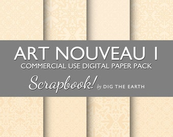 INSTANT DOWNLOAD Art Nouveau Wallpaper Digital Collage Sheets 12x12 inch Set of 8 Digital Papers Ivory Commercial Use Kit
