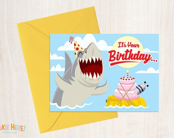 Jaws 1970s Shark Horror Movie Funny Birthday Card 4 by 6 Inch