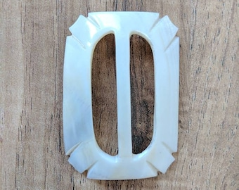 Vintage 30s/40s Pearl White Curved Art Deco Belt Buckle