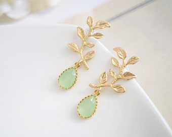 Branch Leaf With Light Mint Green Teardrop Glass Earring Studs. Gold and Mint Green. Bridal Wedding. Bridesmaid Maid of Honor Earrings