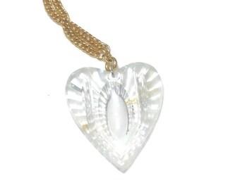Vintage Lucite Heart Necklace