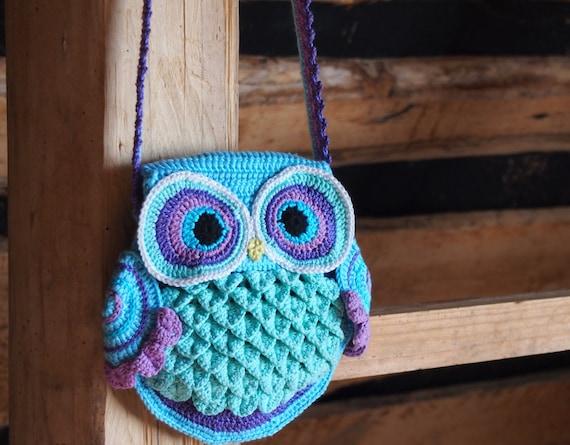 GERMANY version of crochet pattern Owl Bag Blue
