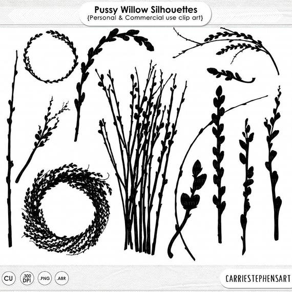 Wedding Invitation Clip Art PussyWillow Silhouette Easter