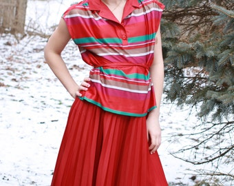 Three's Company Janet Pleated Skirt Outfit