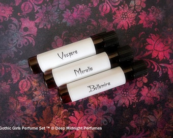 GOTHIC GIRLS™ Perfume Sampler Set - Five 1 ml sample vials - Gothic Perfume - Deep Midnight Perfumes - Fantasy Perfume