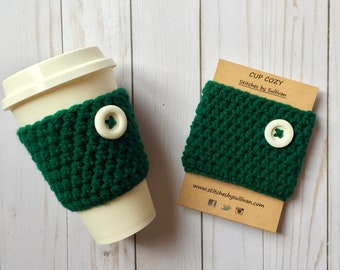 Evergreen Coffee Cozy, crochet coffee cozy, crochet cup cozy, crochet mug cozy, coffee cozy, cup cozy, mug cozy