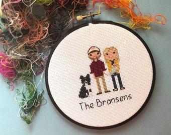 Three Figures Portrait | Custom Cross Stitch Family Portrait | Birth Announcement | Cotton Anniversary | House Warming Gift