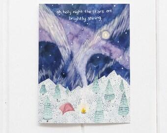 Camping Christmas Card / Christmas Card / Holiday Card / Winter Camping Card / Northern Lights / Watercolor Christmas Card / Mountains