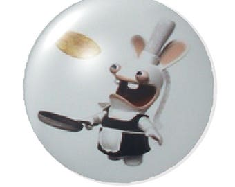 Set of 2 cabochon 25mm round rabbit glass