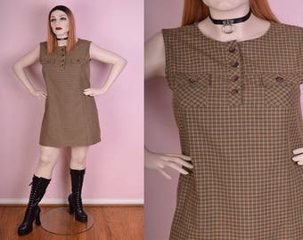 90s Plaid Sleeveless Dress/ XL/ 1990s