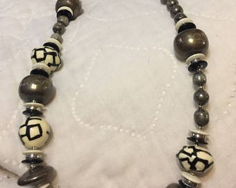 Beautiful black grey and silver costume necklace
