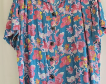90s Vintage We Be Bop Blouse Size 1X Made In India Extra Large Plus Size Floral Cotton Summer Spring Button-Up Short Sleeves Easter Blouse