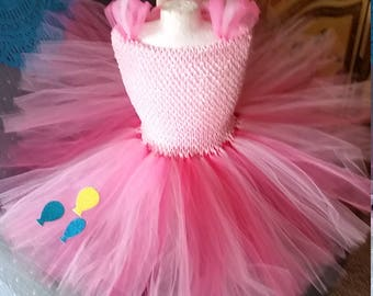 Birthday Girl Halloween Party Costume Pinky Pinkie Pink  with balloons Tutu Dress Outfit